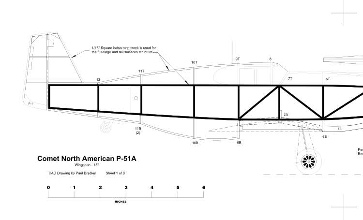 comet p51a redraw model airplane plan