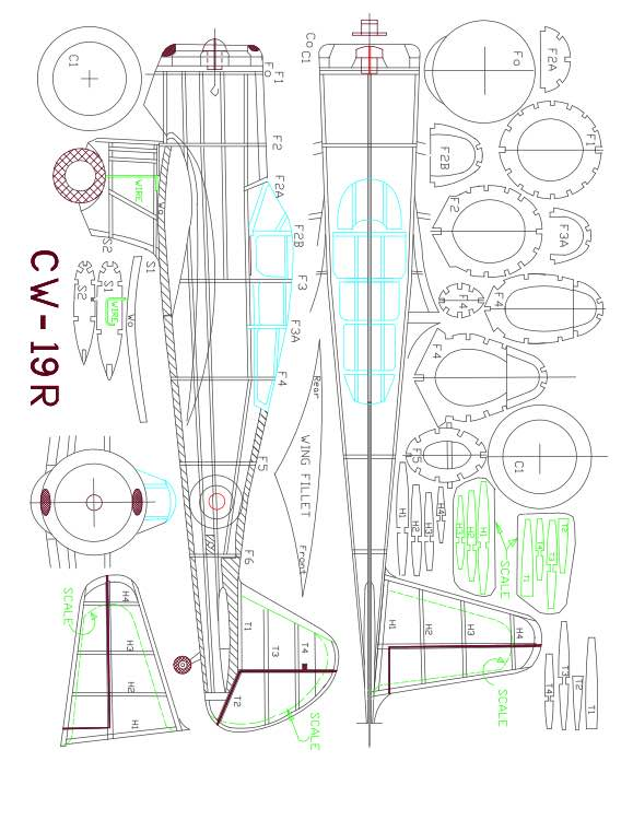 CW-19R-Model-2 model airplane plan