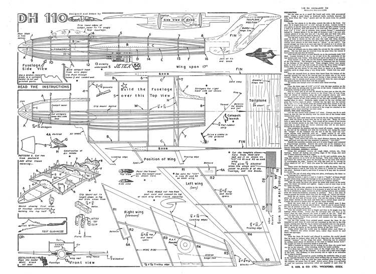 dehavelland110 model airplane plan