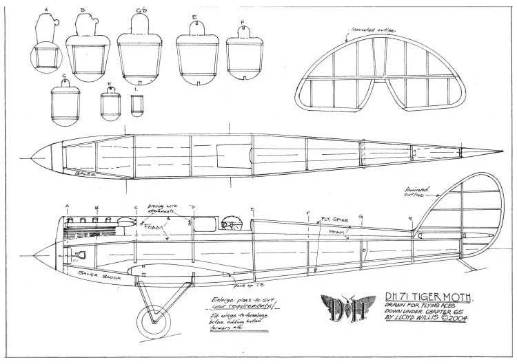 DH-71 Tiger Moth model airplane plan