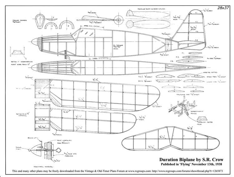 duration biplane model airplane plan