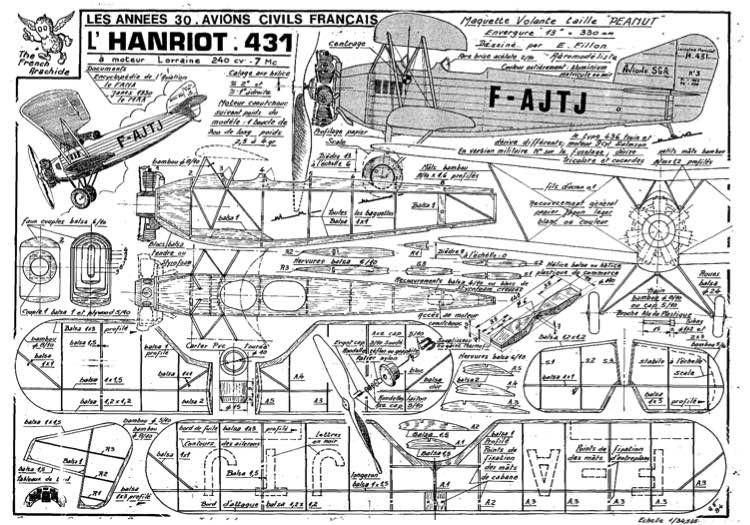 fillon HANRIOT 431 model airplane plan
