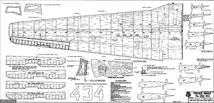 focke wulf ta152h 5 Wing model airplane plan