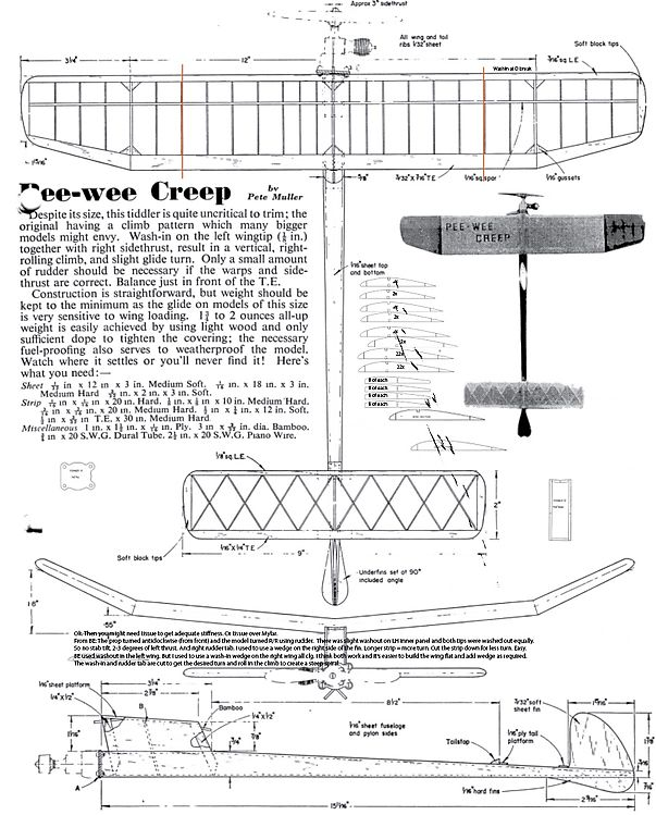 PeeWee Creep model airplane plan