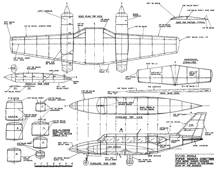 Piper Navajo Chieftain model airplane plan