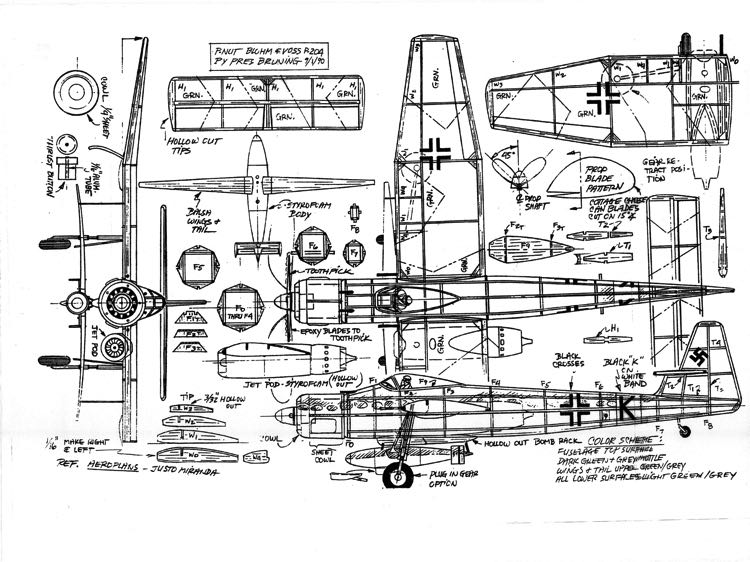 Bluhm and Voss P-204 model airplane plan