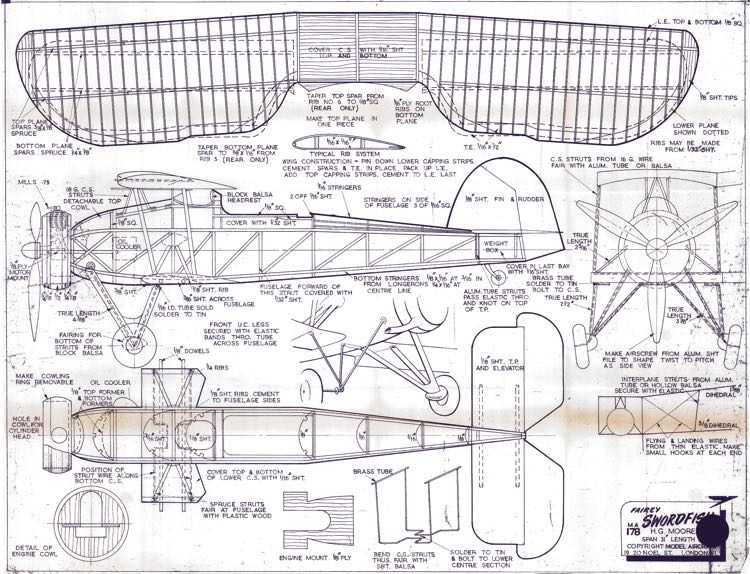 Fairey Swordfish model airplane plan