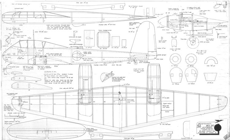 Messerschmitt ME-210 model airplane plan