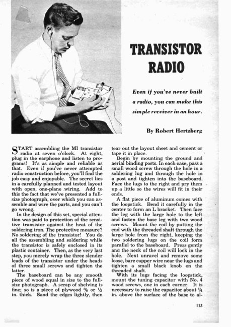 transistor-radio model airplane plan
